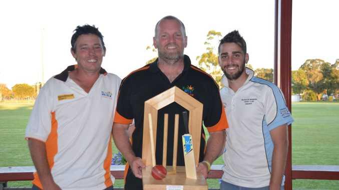 RSL Services' Wayne Kelly, Darrin Geiger and Warriors' Kieran Askin with the Lynda Geiger Trophy.