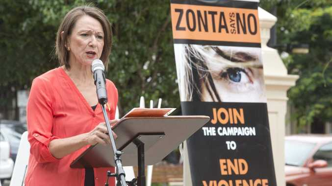 ZONTA SAYS NO: The Zonta flag raising for Human Right in Toowoomba last year.