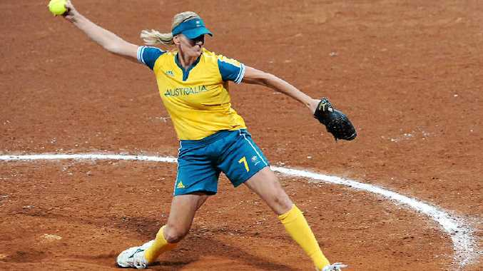 CHAMPION: Australia's Tanya Harding pitches during their bronze medal softball match against Japan at the 2008 Olympic Games in Beijing, China. Harding will lead a training clinic in Hervey Bay on December 17.
