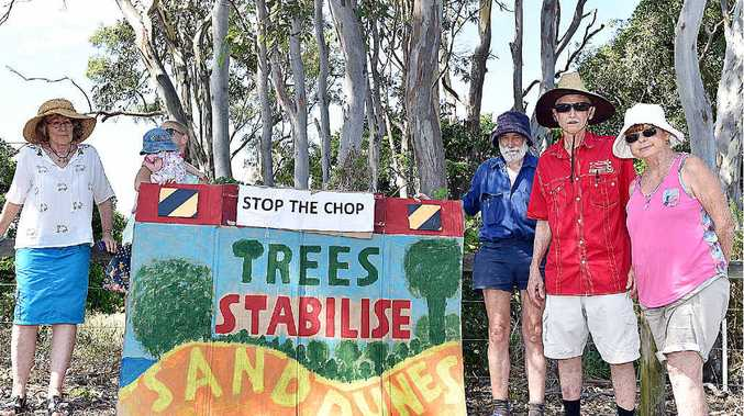 Protesters on the Esplanade at Point Vernon where trees are marked for removal.