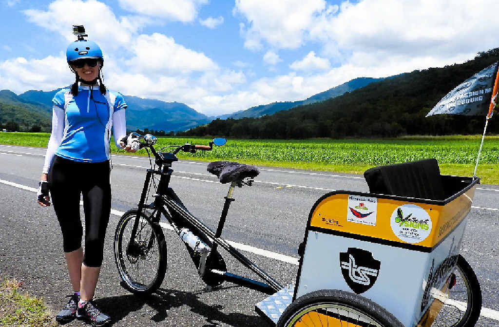 Crystal Davis is peddling her rickshaw to Hervey Bay on Saturday to end a 1700km world-record-breaking trip from Port Douglas to raise awareness for suicide prevention.