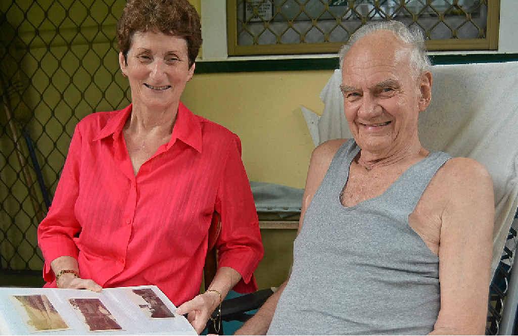 Ernie Pohlman receives his regular home visitor Lyn Harwood.
