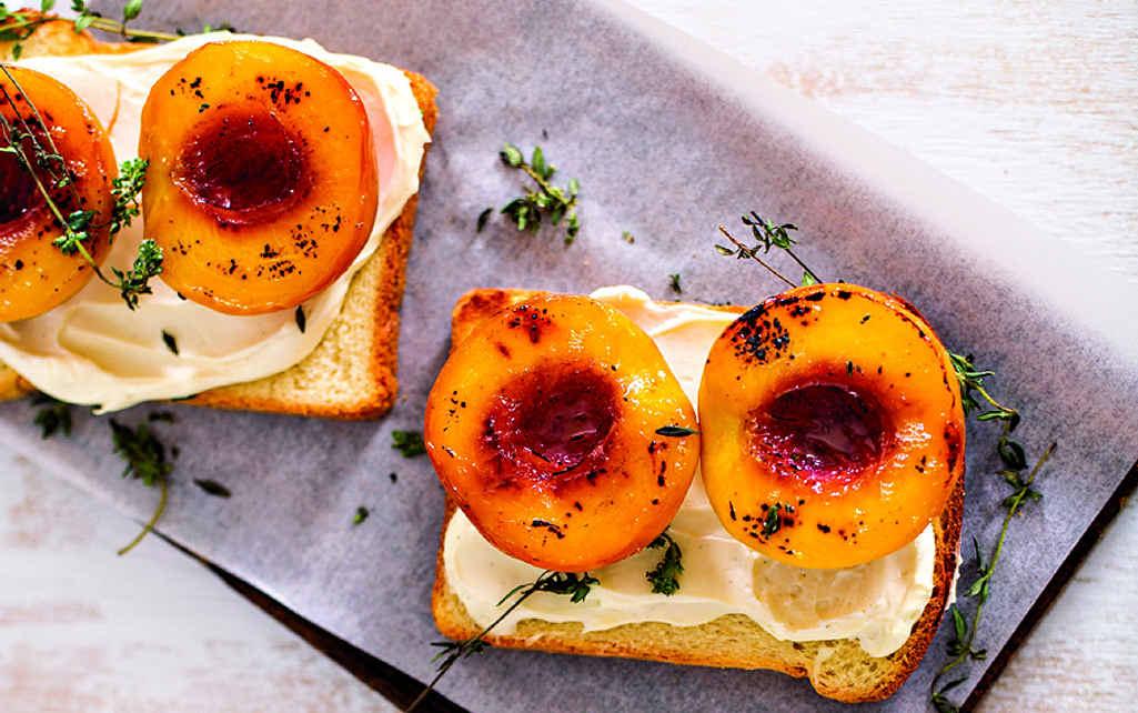 A different idea: roasted peaches on brioche.