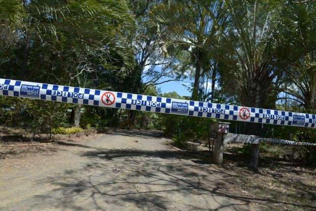 INVESTIGATION CONTINUES: Police tape off the entrance of a Sylvan Drive address after the death of a 46-year-old man at Moore Park Beach on Wednesday. Photo: Max Fleet / NewsMail