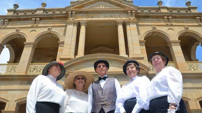 Susan Needer, Janice and David Flood, Deirdre Llewellyn and Barbara Bokenham are all dressed and ready for the March of the Dungarees tonight at Warwick Town Hall. Photo Ben Wilmott / Warwick Daily News