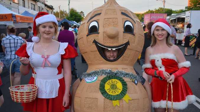 Lydia Ford, Percy the Peanut( Raymond Undery) and Alycia Martin. Photo Katherine Morris / South Burnett Times