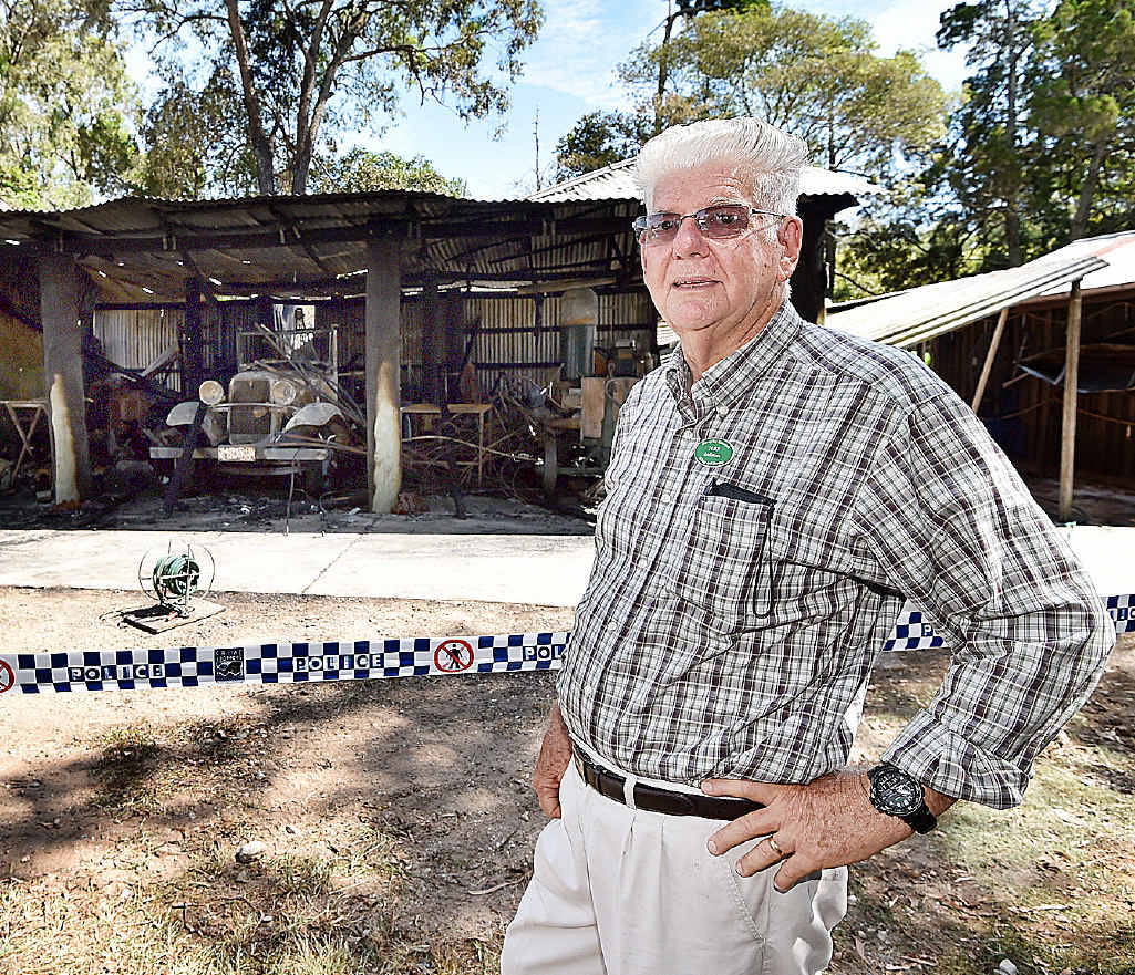 President John Andersen, pictured in front of the sheds and workshop, is grateful for the Fraser Coast community's generosity.