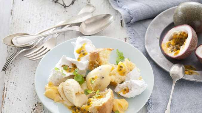 Mash-up of passionfruit, sponge and meringue