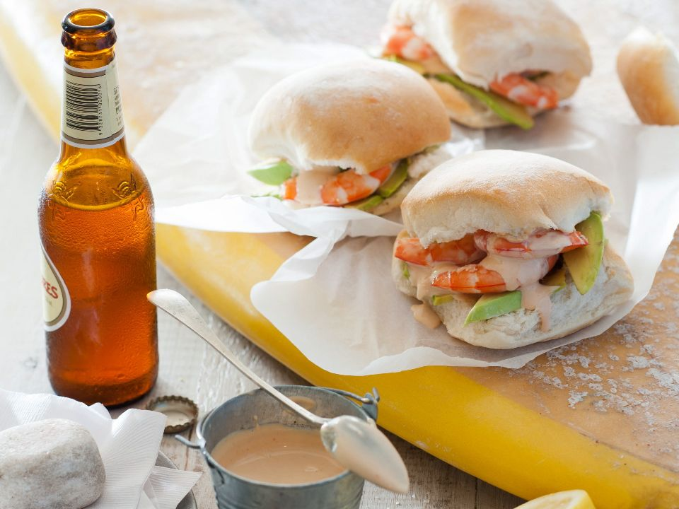 Prawn and avocado rolls with homemade seafood sauce