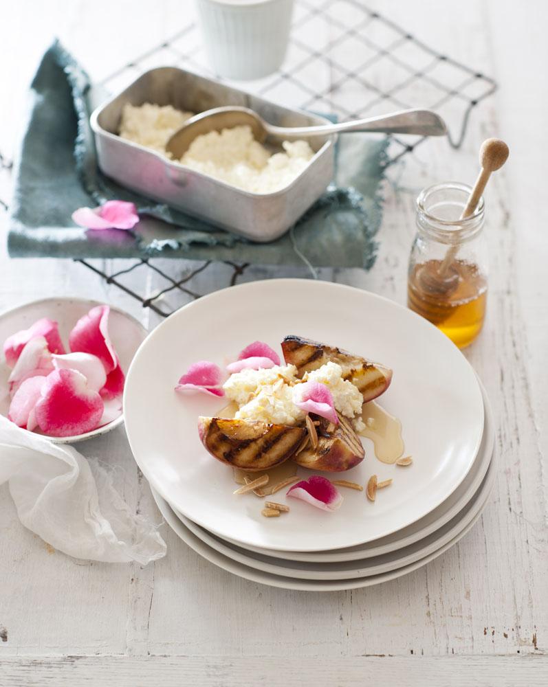 White peaches, ricotta, honey and rose petals