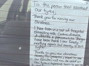 Christmas saved for couple after crims slashed car tyres
