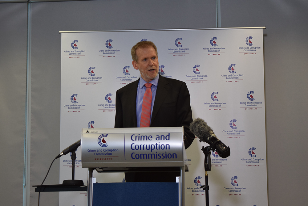 Crime and Corruption Commission chairman Alan MacSporran speaking about the CCC report into local government transparency and accountability.