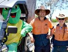 Theodore the Turtle, with Mackay Regional Council Kyle Taylor and Jennifer Bailey.