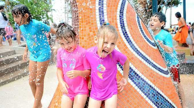 KEPPEL KRAKEN: Chloe White, 4, and Haley White, 5 at the opening of the Keppel Kraken in Yeppoon.