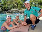 MASTER STROKE: Rick Pendleton with Indiana Voss and Romy Wolstencroft at Flinders Swim Club.