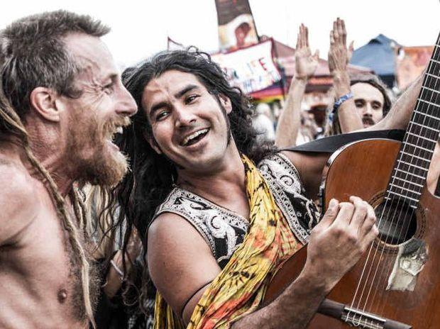 FREE LIKE ME: Daniel Urbina gets among the crowd at Byron Bay's Uplift Festival.
