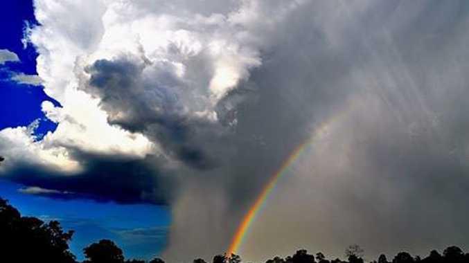Caralee Mirfin captured a rainbow through the storm.