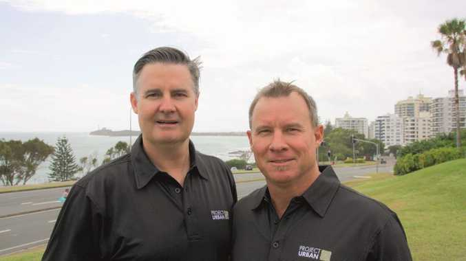 Andrew Stevens and Peter Folker announce the merge of KHA development managers and DFS Group into Project Urban Photo Erle Levey / Sunshine Coast Daily