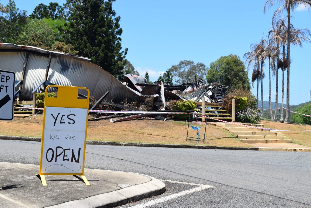 Sign of the times. The Kandanga pub will continue trading despite burning to the ground on Saturday.