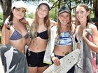 FUN IN THE SUN: Natalie Quattromani, Renee Thompson, Tiahna Hubbard and Skye Houliston head to Torquay Beach for a swim.