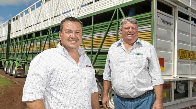STEPPING UP: Rytrans Manufacturing's Ashley Daley (left) and Johnston's Livestock Transport's George Johnston.