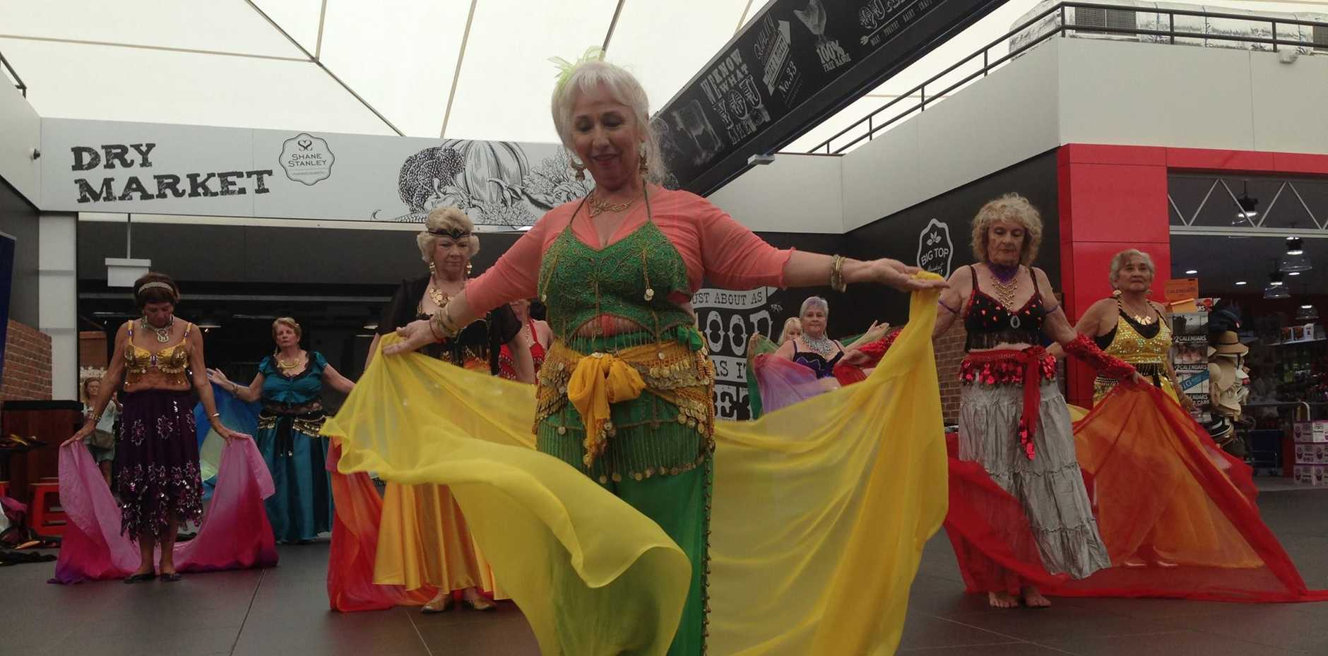 Sunshine 60 and Better Belly Dance group at the Big Top Market Fresh