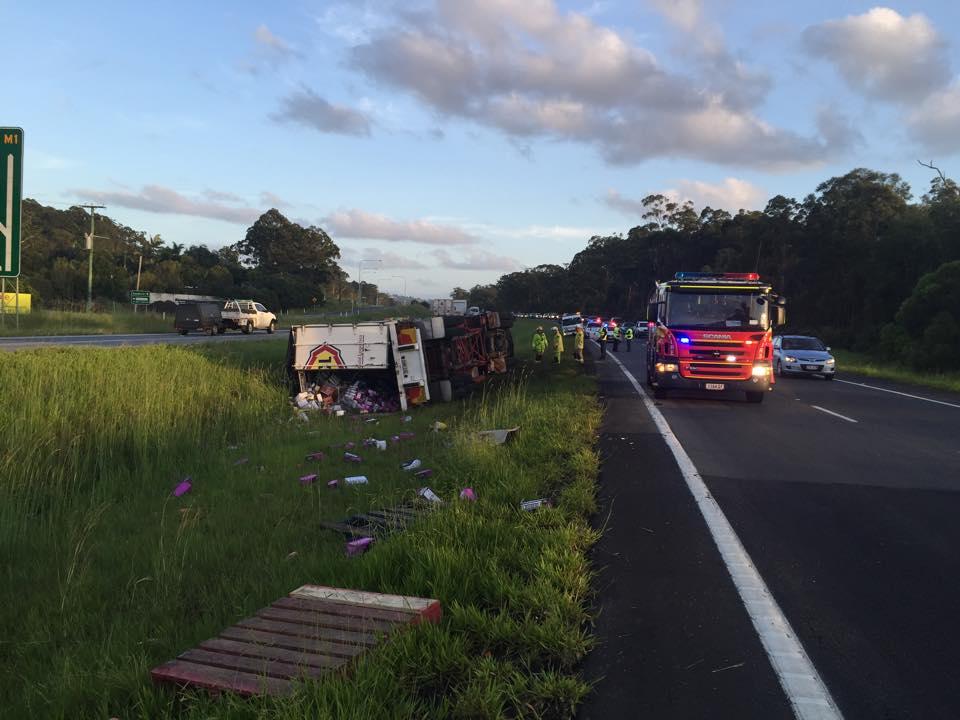 Truck rollover near Aussie World on the Bruce Highway.