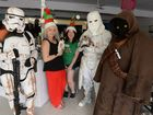 CATS AND CHARACTERS: Star Wars Sand Trooper, Winnie Elise, Delyse Knight, a Snow Trooper and a Jawa at the Pet Adoption Day organised by Cat Connections HQ. Photo: Mike Knott / NewsMail