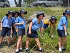 Year 4 students from left Kurt Knudsen, Darcy Axiak, Ella Rixon, Brielle Bishop, Ashleigh Meng and Graci Gee found many 'interesting items' in the clean up.