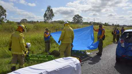 Emergency services at the scene of a five-vehicle crash in which March of the Dungarees 2015 cadets were injured on Gatton-Helidon Rd at Helidon.
