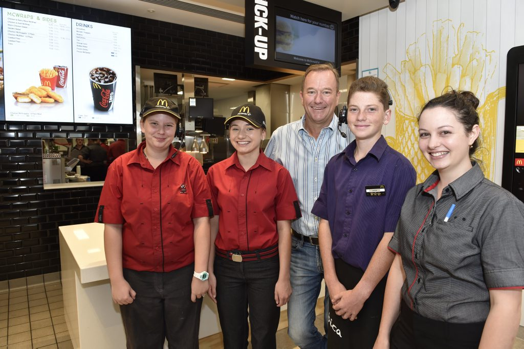 McDonald's Restaurant owner Mark Ward, with members of his staff (from left) Crystal Lozynski, Majenta Cooper, Jack Apel, Shannon Butler