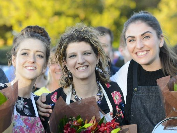 The Great Australian Bake Off winner Sian Redgrave, right, pictured with finalists Jasmin Hartley, left, and Suzy Stefanidis.