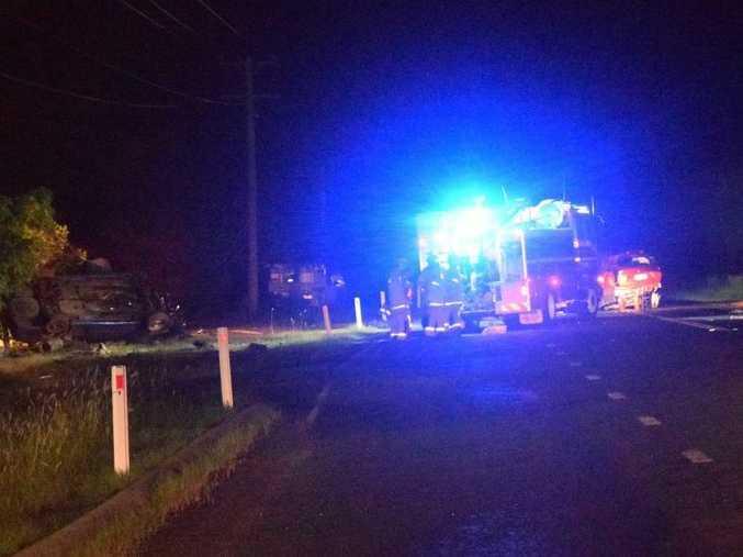CRASH: Emergency services attend the two car collision along Pialba-Burrum Heads Rd near Petersen Rd, Craignish. Photo Hannah Baker / Fraser Coast Chronicle Photo Hannah Baker / Fraser Coast Chronicle