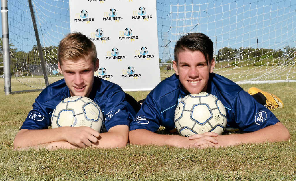 CHASING DREAM: Jacob Downey (left) and Xavier Townsend are off to Brisbane to play in football's National Premier League.