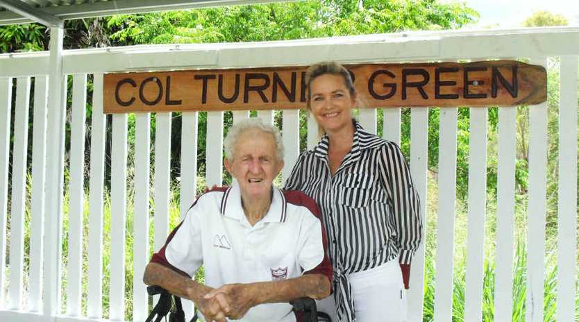 HONOURED: Mount Morgan Welfare Bowls Club stalwart Col Turner with Rockhampton Regional councillor Cherie Rutherford.