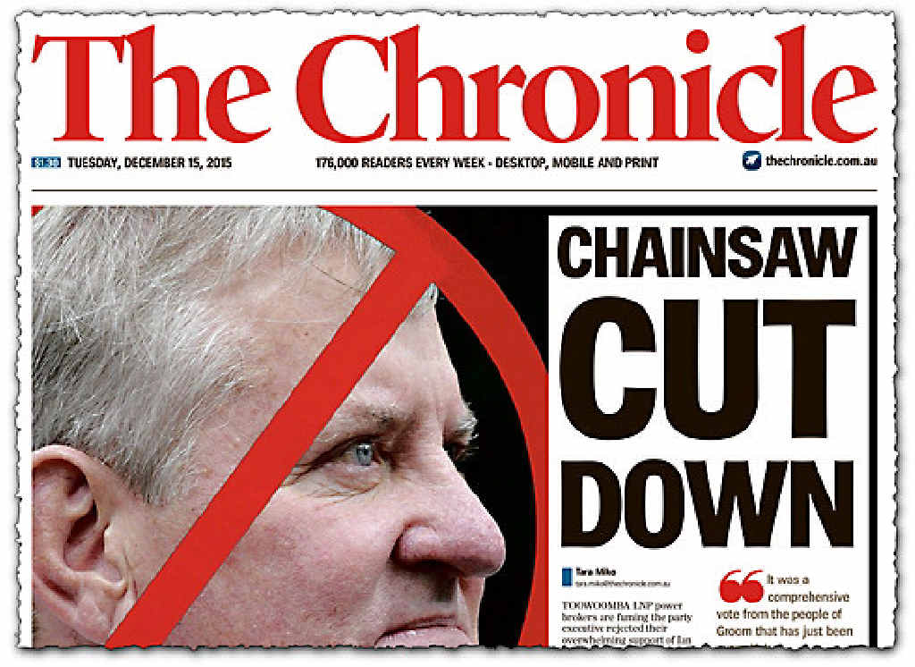 FAILED BID: The Chronicle's front page on Ian Macfarlane;s bid to defect to the Nationals.