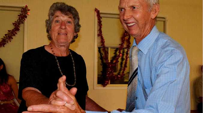 DANCING: Thelma Steinohrt and John Ford hit the dance floor at the Hodgson Hall.