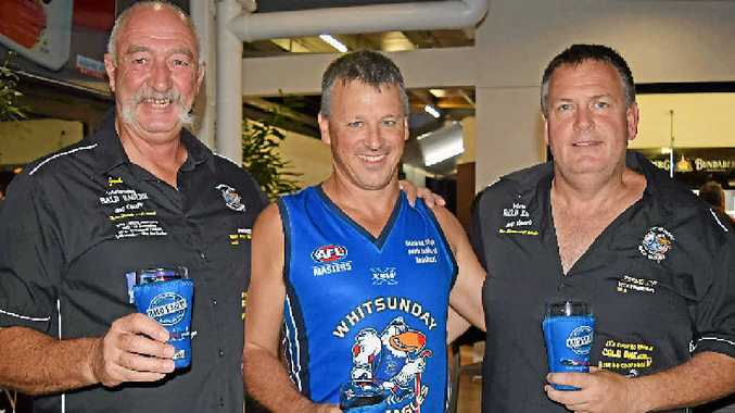 HONOURS: Whitsunday Bald Eagles president Jack Lumby, Baldie of the Year Lenny Morris and vice-president Shane Bartlet.