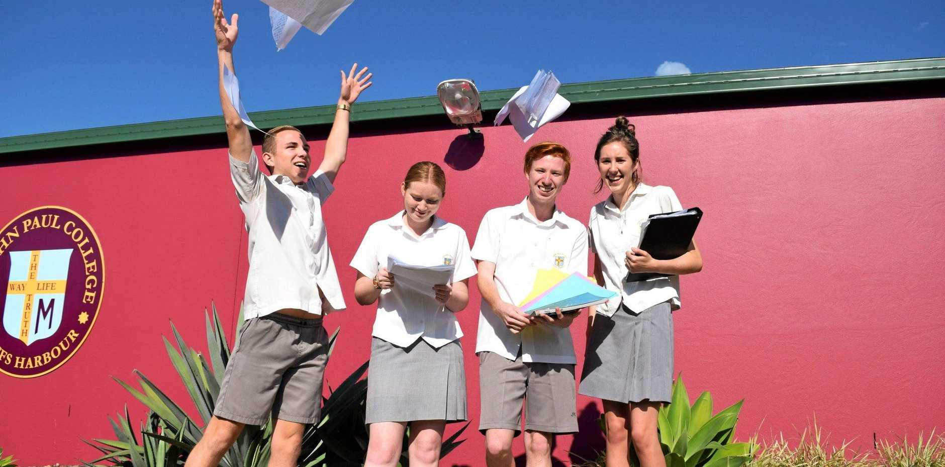 CELEBRATE: St John Paul students along with students from across the Coffs Coast received their HSC results today.