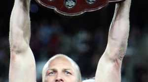 Darren Lockyer holds up the Origin Shield at Suncorp Stadium in Brisbane,  July 6, 2011. (AAP Image/Action Photographics, Charles Knight)