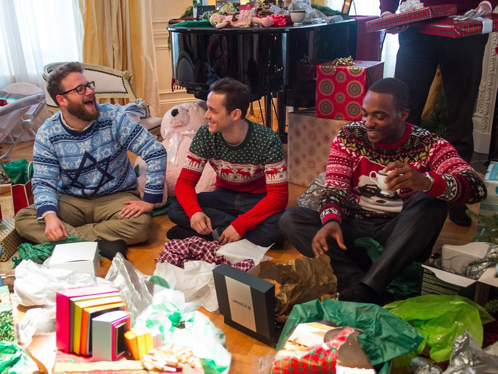 FOR REVIEW AND PREVIEW PURPOSES ONLY. Seth Rogen, Joseph Gordon-Levitt and Anthony Mackie in a scene from the movie The Night Before. Supplied by Columbia Pictures. Please credit photo to Sarah Shatz.