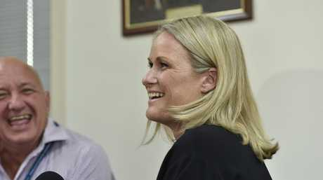 NEW CEO: Alison Kennedy is the new CEO for the Toowoomba Hospital Foundation. In the background is retiring CEO Peter Rookas. Photo Bev Lacey / The Chronicle