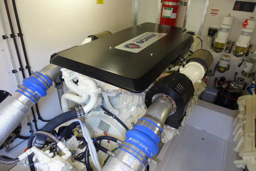 Scania have provided a pair of 900hp V8 Marine engines to power a new Motor Cruising Yacht, owned by the founder of Maritimo, Bill Barry-Cotter. Photo Contributed