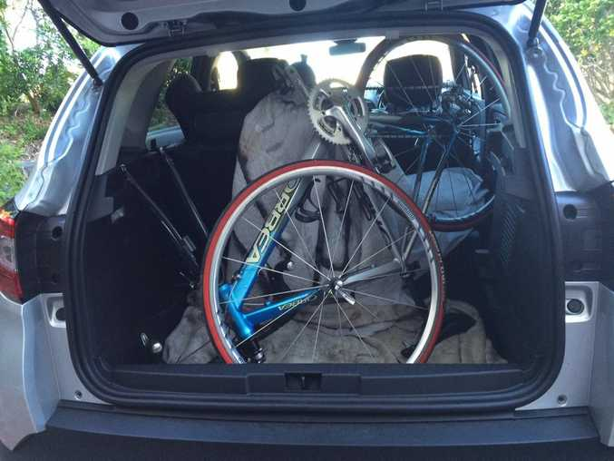 BOOTIFUL: Road bike (with front wheel removed) fits into the Captur's rear with only part of the rear seat needing folded down.