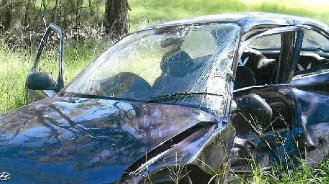 FOUR INJURED: The car driven by the woman allegedly at fault was left extensively damaged.