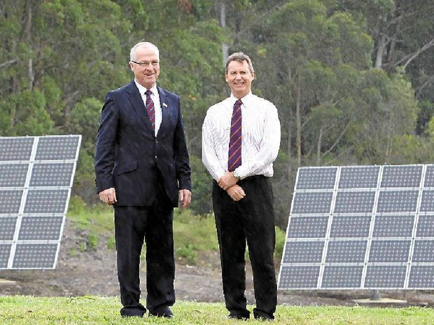 HOT TOPIC: Mayor Mark Jamieson, left, and Cr Steve Robinson say the solar farm has missed out on funding.