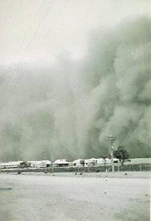 Ferocious dust storms were a part of life for personnel at the flying boat repair depot at Lake Boga.