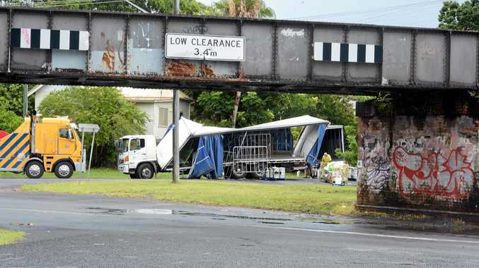A truck came to grief under the Union Street viaduct in South Lismore.Photo Cathy Adams / The Northern Star