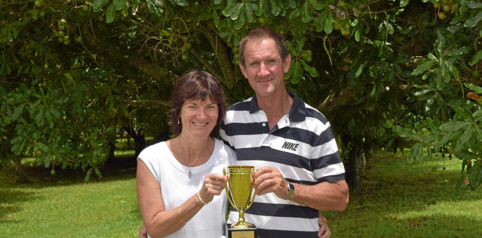 Upper Duroby's David and Sharon Wardrop with their trophy.