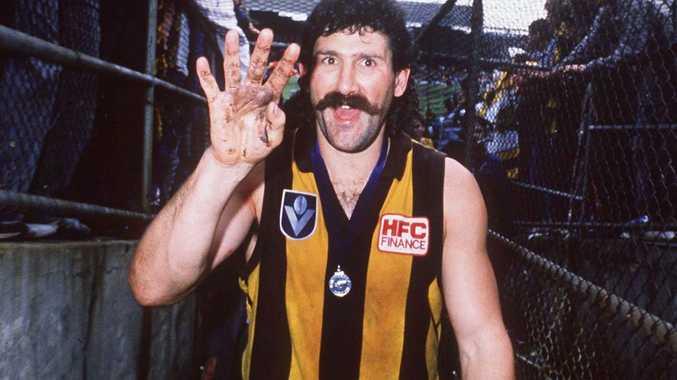 1988:  Robert DiPierdomenico of Hawthorn celebrates his win in the VFL Grand Final match against Melbourne. Picture: Allsport Australia/ALLSPORT